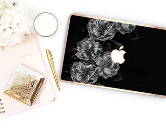Macbook Pro 13 Case Macbook Air Case Laptop Case Macbook Case . Black Rose with Rose Gold Chrome Edge            - Platinum Edition