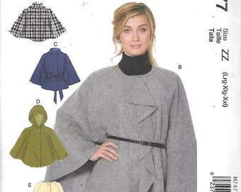 Misses Hooded Collar/or Collarless Capes, Sizes Lrg Thru XXL, New Uncut McCalls Pattern 7477