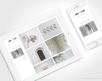 Minimal Blogger Template ⊡ Box No32 ⊳ Pre-made Responsive Blogger Theme with a Grid Blog Layout
