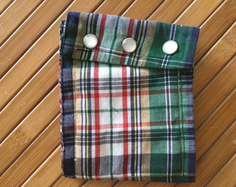 multicolored plaid wallet made from recycled shirt sleeve