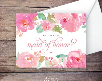 Printable Will You Be My Maid of Honor Card, Instant Download Greeting Card, Will You Be My Bridesmaid, Wedding Card – Marla
