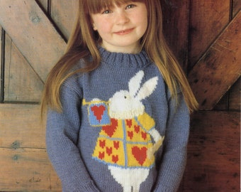 A Pre-owned Knitting Pattern Leaflet, White Rabbit Sweater from the Alice in Wonderland Collection