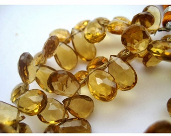 Beer Quartz Beads, Pear Beads, Faceted Briolette Beads, Faceted Beer Quartz, 5x8mm To 7x11mm, 4.5 InchHalf Strand, 30 Pieces Approx