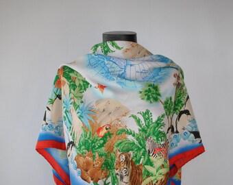 Vintage AIGNER PRINTED SILK scarf , hand rolled silk scarf...........(283)