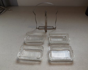 Glass Stacking Snack Trays in Metal Carrier