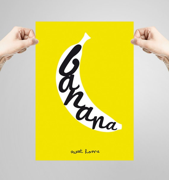 Wall art decor. Picture Banana. Printable art. Ilustration. Digital print. Instant digital download
