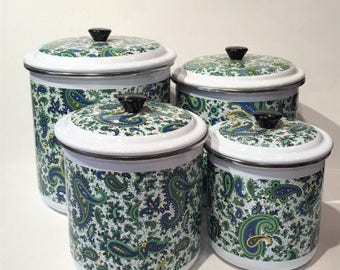 70's Kitchen Canisters, Vintage Paisley Metal Canister Set, 1970s Nesting Canisters, Blue and Green Canisters