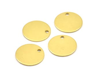 Brass 15mm Disc, 12 Raw Brass Round Stamping Blanks, Tags without Holes (15x0.80mm) A0860