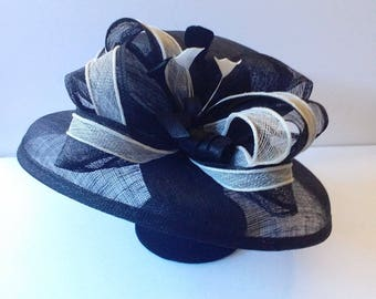 Large Down Brim Sinamay Hat W/ Loopy Cluster Feather