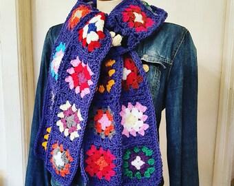 In STOCK Granny Squares Scarf Crochet Traditional Lobelia Blue