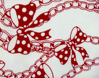Kids Cotton Knit Fabric - Polka Dot Bows Red White Necklace Chain Print - Medium Weight Cotton Lycra Fabric by the yard - The Fabric Zoo