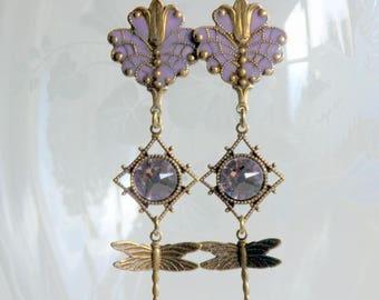 Dragonfly Earrings, Swarovski Crystal Earrings, Victorian Earrings, Boho Earrings, Dangle Earrings, Lilac Dangle Earrings, Art Nouveau