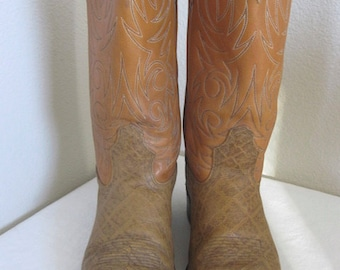 Vintage 'Acme' Leather Cowboy Boots Made In USA - UK Size 10