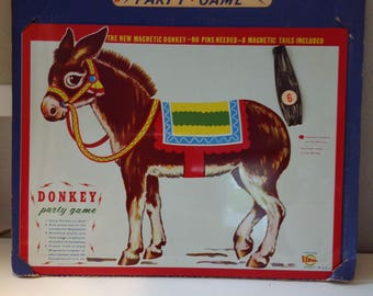 Magnetic pin the tail on the donkey game