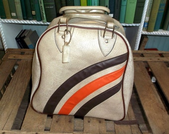 Vintage 1970's Bowling Ball Bag Tan or Beige with Brown and Orange Stripes Neat-o