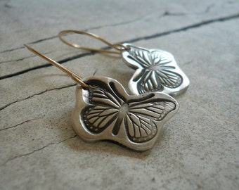 Flutter Earrings - Oxidized fine silver. 14kt Goldfill. Mixed Metal. Handmade