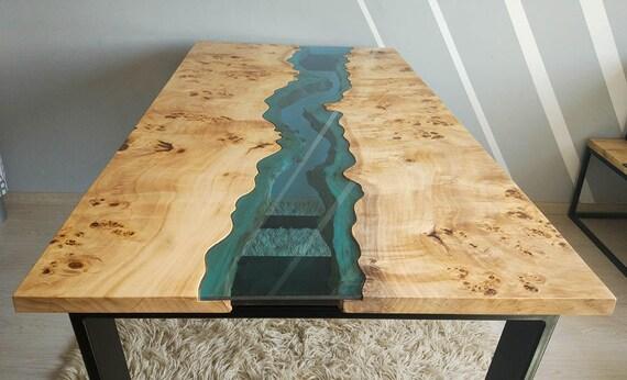 verkauft live rand fluss tisch mit epoxidharz verkauft. Black Bedroom Furniture Sets. Home Design Ideas