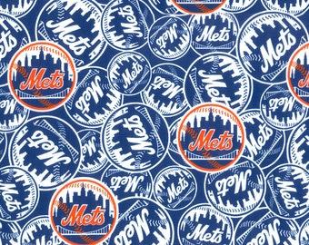 New York Mets Cotton Fabric 1 Yard Sports Team 100% Cotton
