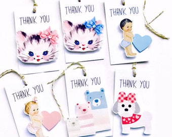 Thank You gift Tags. Vintage Baby Dimensional Heavy weight gift tags. Vintage Kitty, Bear Family, Puppy Thank you Tags. More designs