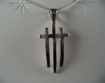 Three Cross Sterling Necklace with 16 Inch Sterling Chain
