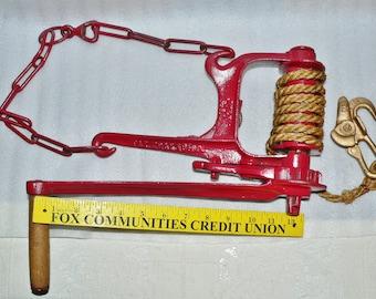 TOOL ©1880 Wire Tightener Fence Stretcher Cast  IRON  Ellwood DeKalb ILL Farm Ranch Western