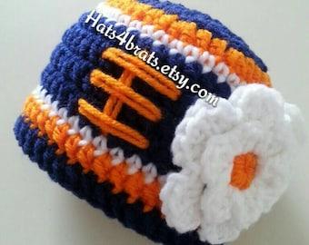 Baby Girl Denver Broncos Hat, Newborn Broncos Hat, Broncos  Photo Prop, Baby Football Hat, Infant Crochet Hat, Crochet Denver Broncos Hat