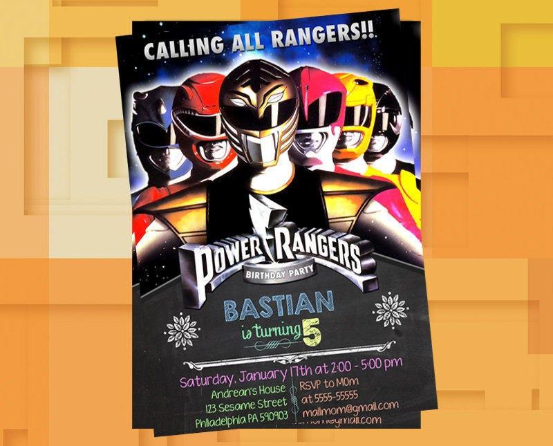 Power Ranger Mighty Morphin Invitationpower Ranger Mighty