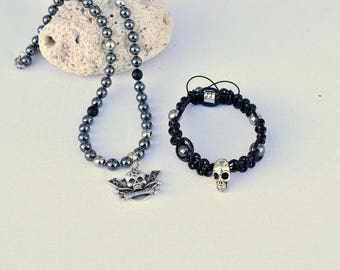 special biker-skull onyx hematite bracelet and necklace