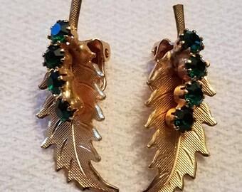 Vintage Green Rhinestone Clip On Fall or Christmas Earrings