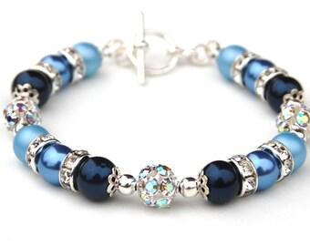 Something Blue Bracelet, Bridesmaid Jewelry, Blue Bracelet, Navy Blue Pearl Jewelry, Something Blue for Bride, Blue Wedding