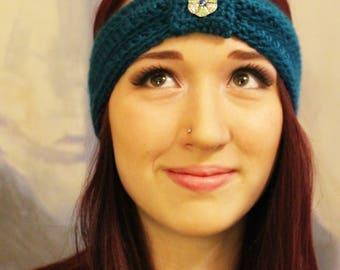 Teal Ear Warmer Headband with Jewel Embellishment