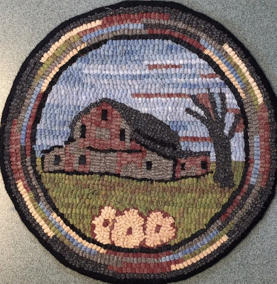 """Rug Hooking Pattern for """"Old Barn #4"""" Chair Pad, on Monks Cloth or Primitive Linen, P142"""
