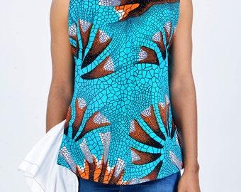 Ankara sleeveless top with side piece