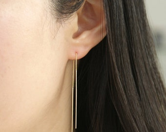 14K Solid Gold Threader Earrings, 14K Long Threader Earrings, 14K Ear Threads, very dainty earrings, delicate earrings, Minimalist Earrings