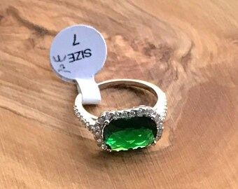 Emerald Cut Green Emerald 925 Sterling Silver Ring
