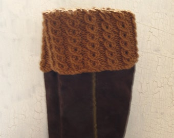 Boot Toppers, Leg Warmers, Reversible Boot Cuffs, Cabled Leg Warmers, Ribbed Boot  Cuffs, Caramel Boot Toppers, Caramel Boot Cuffs