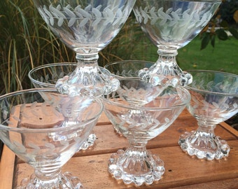 Vintage Glassware. Champagne Glasses.  Sherbet Glass. Coupe Stemware. Anchor Hocking Berwick Candlewick Boopie. Etched Laurel - Set of 7