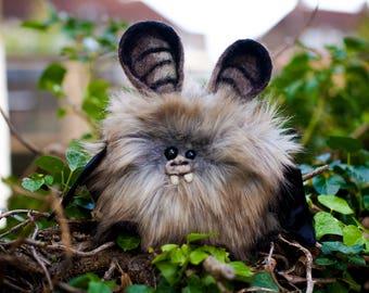 EIRLYS -   Plush Bat, OOAK Bat Soft Sculpture, Fibre Art, Plush, Needle felting, Halloween Plush