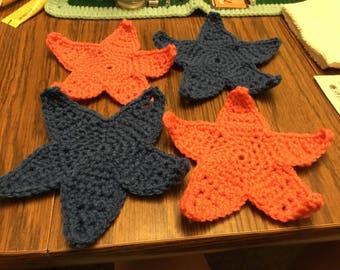 4 large crochet stars.