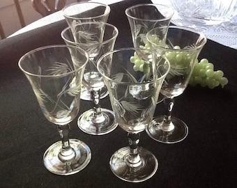Vintage Set Of 6 Etched Crystal Stemware With Leaf Design/ cordial Glasses.