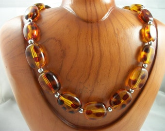 Sale     Vintage Casual Topaz Tone Bead Necklace with Dark Brown Dots