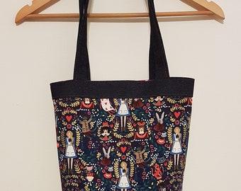 Denim / Alice in Wonderland Print Tote Bag & Purse