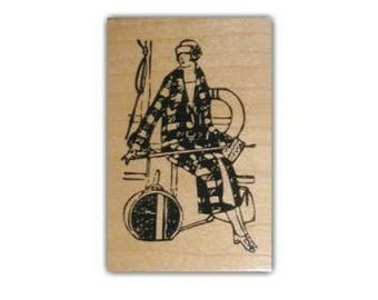 vintage-style Lady Traveler Mounted rubber stamp, journey, adventure, travel journal stamp, Sweet Grass Stamps No.2