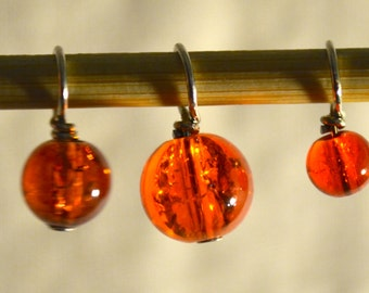 Orange Crackle Glass bead handmade stitch markers for knitting (Qty 12)