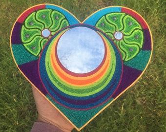 Double Peyote Rainbow Heart