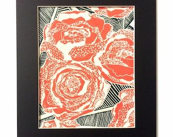 linocut collage - BLOOM // 11x14 art print // printmaking // block prints // peony, peonies // flower art // pink, black // 8x10