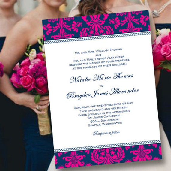 Printable Wedding Invitation Template Damask Navy