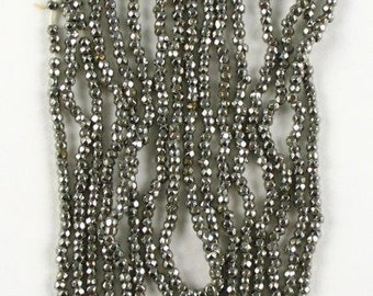 RARE  Antique Steel Cut Micro Beads P7 - Made in France - 1 strand  44 inches long