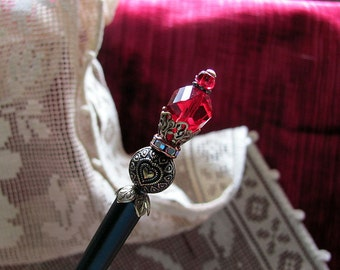 Royal Scepter for the Queen of Hearts Victorian Hair Stick or Shawl Pin