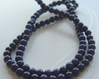 Fossil Beads 6mm Natural Dark Navy Blue Smooth Round Stones - 8 inch Strand